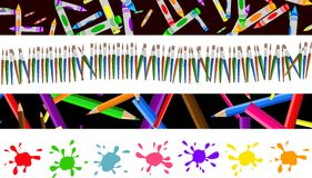 Art borders. Set of four colourful decorative arty page borders and banners Royalty Free Stock Photos