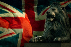 Art british lion on Union Jack Stock Photo