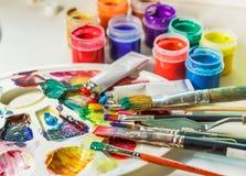 Art brush, gouache paint, watercolor, paint palette, various accessories for the artist.. royalty free stock images