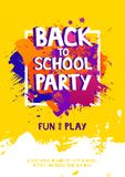 Art brush paint vector banner With the inscription Back to school party. Abstract texture background design acrylic stroke poster. In frame vector illustration vector illustration