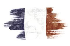France flag. Art brush watercolor painting of France flag blown in the wind isolated on white background Stock Images