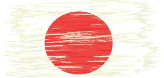 Art brush watercolor painting of Japan flag. Blown in the wind isolated on white background royalty free illustration