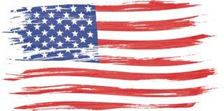 Art brush watercolor painting of USA flag stock illustration