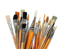 Art brushes. Artistic group of paintbrushes isolated on wight background stock images