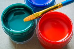 Free Art Brushes And Few Jars With Acrylic Paint. Royalty Free Stock Photos - 103452758