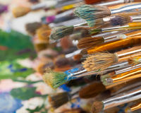 Art brushes and artist palette Royalty Free Stock Photo