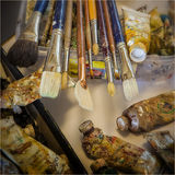 Art Brushes and Oil Paint Stock Images