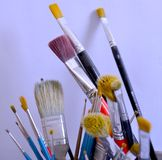 Collect of brushes. Art brushes for paint and draw stock image