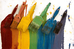 Art Brushes on the Rainbow colour Panel Royalty Free Stock Photo