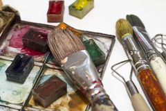 Objects for arts, sculpture, painting, drawing royalty free stock photo