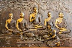 Art of buddha on metal plate Stock Photo