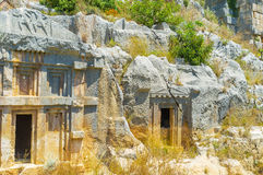 The art of burial. The carved tombs of ancient Myra give an idea of lycian architecture, Turkey Stock Image