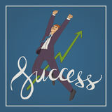 Art business vector illustration with man jumping up and happy  handwriting lettering word success. Vector illustration with man jumping up and happy with Royalty Free Stock Photo