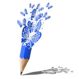 Art of butterfly blue pencil. Stock Photography