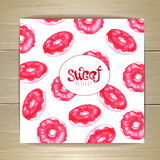 Art cake or dessert card. Sweet background. Donuts Stock Images