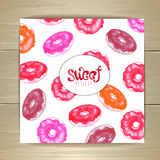 Art cake or dessert card. Sweet background. Donuts Royalty Free Stock Image
