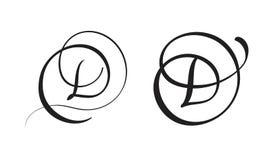 Art calligraphy letter D with flourish of vintage decorative whorls. Vector illustration EPS10 royalty free illustration