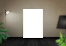 Art canvas leaning on wall. Gallery space with lamp Royalty Free Stock Photography