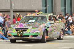 Art car. The 2014 Houston Art Car Parade saw attendance numbers of nearly 300,000 along Allen Parkway, making it one of the largest free events in Houston, and royalty free stock photo