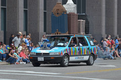 Art car. The 2014 Houston Art Car Parade saw attendance numbers of nearly 300,000 along Allen Parkway, making it one of the largest free events in Houston, and stock image