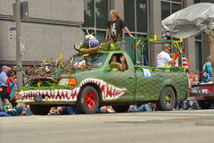 Art car. The 2014 Houston Art Car Parade saw attendance numbers of nearly 300,000 along Allen Parkway, making it one of the largest free events in Houston, and Royalty Free Stock Image