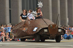 Art car. The 2014 Houston Art Car Parade saw attendance numbers of nearly 300,000 along Allen Parkway, making it one of the largest free events in Houston, and Stock Photo