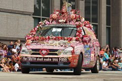 Art car. The 2014 Houston Art Car Parade saw attendance numbers of nearly 300,000 along Allen Parkway, making it one of the largest free events in Houston, and Royalty Free Stock Photos