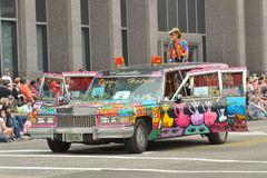 Art car. The 2014 Houston Art Car Parade saw attendance numbers of nearly 300, 000 along Allen Parkway, making it one of the largest free events in Houston, and stock photo
