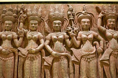 art of carve in angkor style of asia is the architecture ancient Stock Images