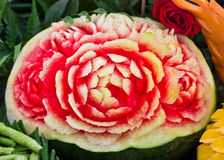 Art of carved watermelon like a flower Stock Photography