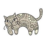 Art cat with floral ornament for your design Stock Photo