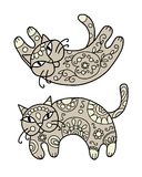 Art cat with floral ornament for your design Royalty Free Stock Photo