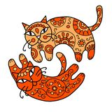 Art cats with floral ornament for your design Royalty Free Stock Image