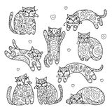 Art cats with floral ornament for your design Stock Image
