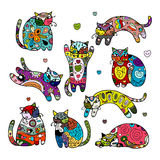Art cats with floral ornament for your design. Vector illustration Royalty Free Stock Photos