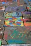 Art chalk illustrations on the walkway Stock Photo