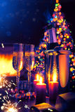 Art champagne at New Year's Eve. Art Glasses of champagne at New Year's Eve Stock Image