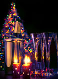 Art champagne at New Year's Eve. Art Glasses of champagne at New Year's Eve Royalty Free Stock Photography