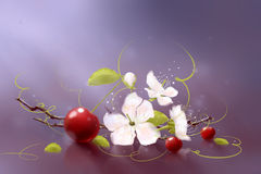 Art cherry. Figure red ripe cherries with leaves and flowers Stock Photography