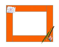 Art children's frame with pencils and la of la of la. Isolated. Art children's frame with with pencils and la of la of la on a white background. It is isolated Royalty Free Stock Photo