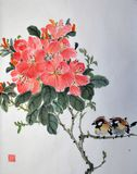 Art of China on rice paper,of two birdies. Image of two birdies. Radedron`s flower royalty free stock images
