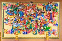 Art Chinese-stijl het schilderen en gipspleister Stock Fotografie