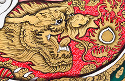 Art Chinese Style Painting On Wall Stock Photo