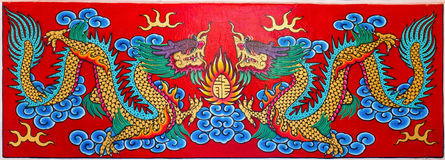 Art Chinese style painting two dragon stock image