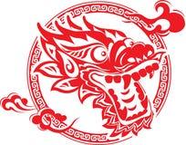 Art chinois de tête de dragon illustration de vecteur