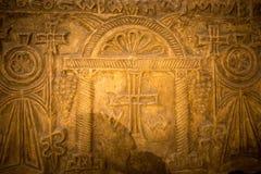 Art chrétien égyptien dans le mur d'église en Egypte photos stock