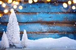 Art Christmas-achtergrond met Kerstbomen Royalty-vrije Stock Foto's