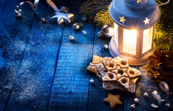 Art Christmas background with christmas light and festive decora Stock Photos