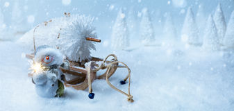 Art Christmas background with Christmas tree on Santa sleigh Royalty Free Stock Photos