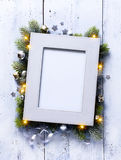 Art Christmas background with fir branches and frame Royalty Free Stock Image